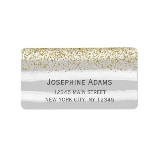 Étiquettes de adresse de gris et d'or