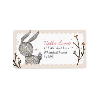 Étiquettes de adresse de lapin de région boisée