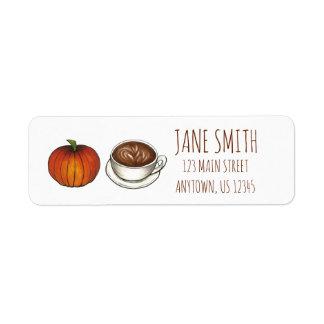 Étiquettes de adresse de Latte de café d'épice de