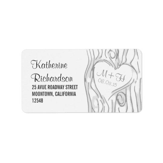 étiquettes de adresse de mariage d'arbre