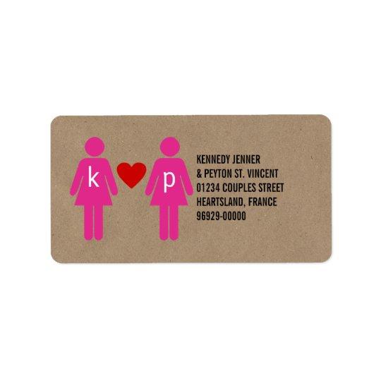 Étiquettes de adresse de mariage de couples