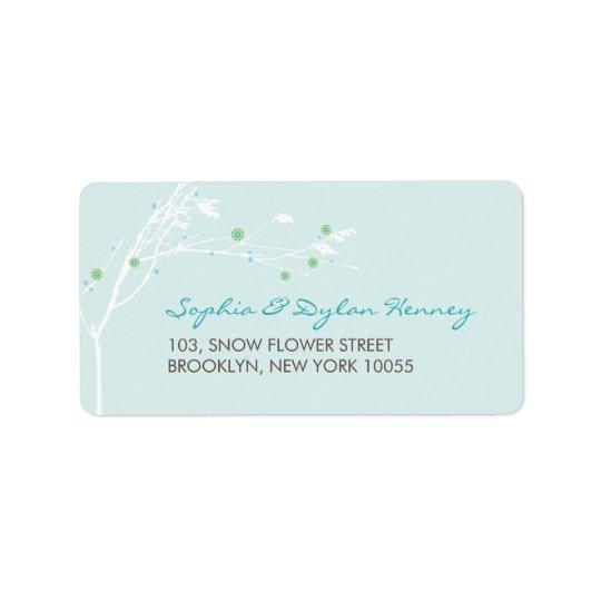 Étiquettes de adresse de mariage de fleur de neige