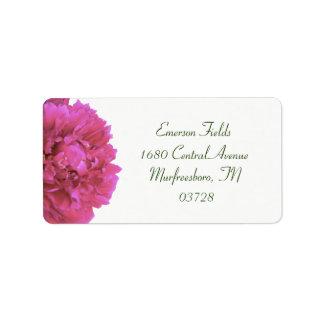 Étiquettes de adresse de mariage de pivoine