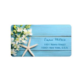 Étiquettes de adresse de mariage d'étoiles de mer