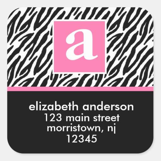 Étiquettes de adresse de monogramme et de zèbre stickers carrés
