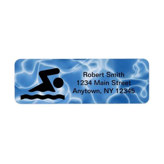 Étiquettes de adresse de natation de retour de con