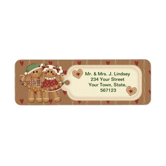 Étiquettes de adresse de Noël de pain d'épice