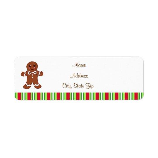 Étiquettes de adresse de pain d'épice de Noël