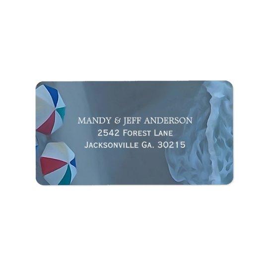Étiquettes de adresse de parapluie de plage