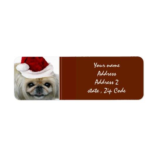 Étiquettes de adresse de Pekingese de Noël