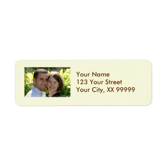 Étiquettes de adresse de photo de mariage en crème