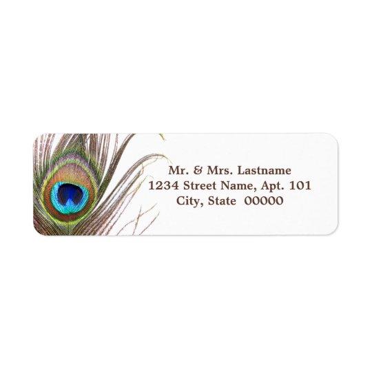 Étiquettes de adresse de plume de paon