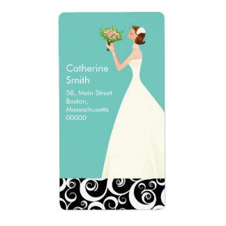 Étiquettes de adresse de remous de jeune mariée en étiquette d'expédition