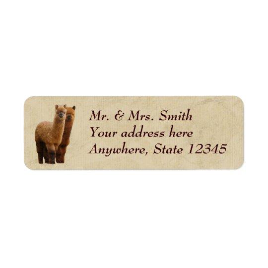 Étiquettes de adresse de retour d'alpaga