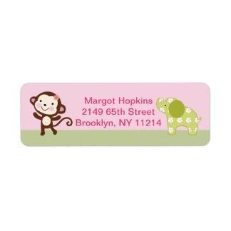 Étiquettes de adresse de retour d'animaux de fille
