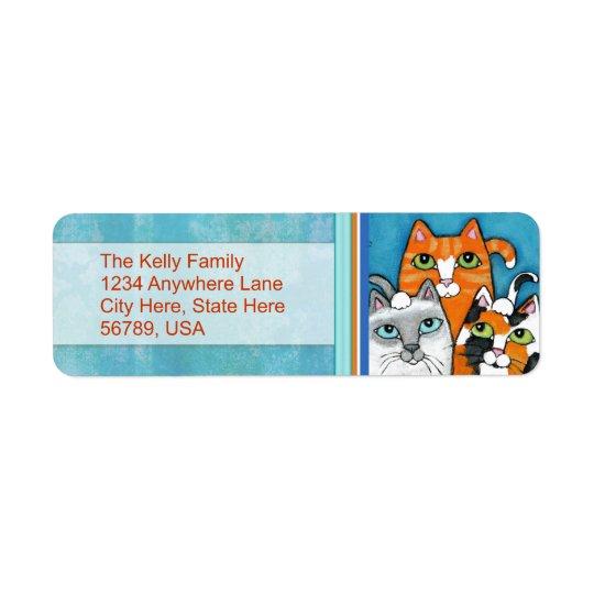 Étiquettes de adresse de retour de chats faits sur