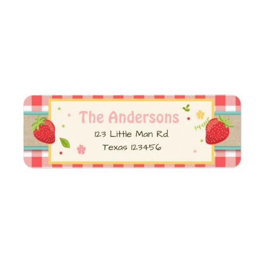 Étiquettes de adresse de retour de fraise du