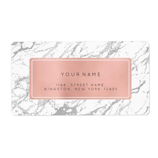 Étiquettes de adresse de retour de marbre de rose