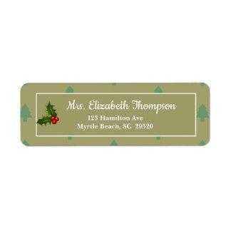 Étiquettes de adresse de retour de Noël de houx