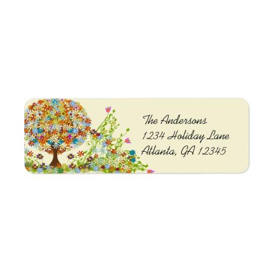 Étiquettes de adresse de retour de remous floraux