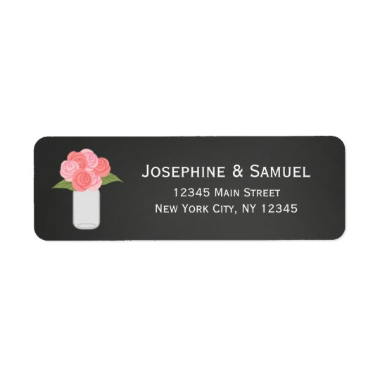 Étiquettes de adresse de retour de roses de pot de