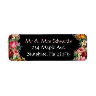 Étiquettes de adresse de retour de roses floraux
