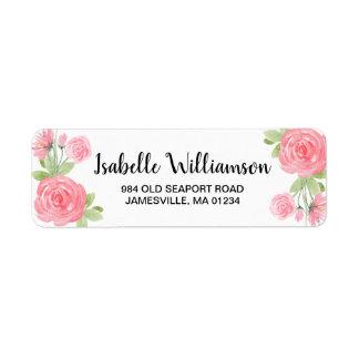 Étiquettes de adresse de retour de roses roses