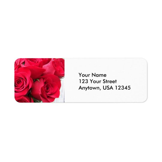 Étiquettes de adresse de retour de roses rouges