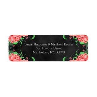 Étiquettes de adresse de retour floraux de rose
