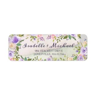 Étiquettes de adresse de retour floraux pourpres