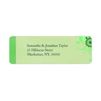 Étiquettes de adresse de retour floraux verts en étiquette d'adresse retour