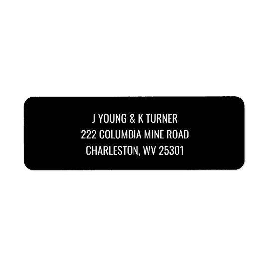 Étiquettes de adresse de retour modernes noirs et