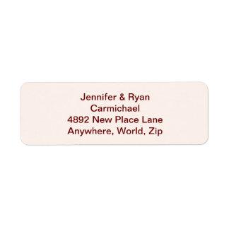 Étiquettes de adresse de retour personnalisés de