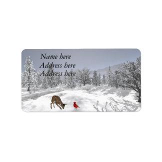 Étiquettes de adresse de scène de neige