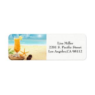 Étiquettes de adresse de scène de plage