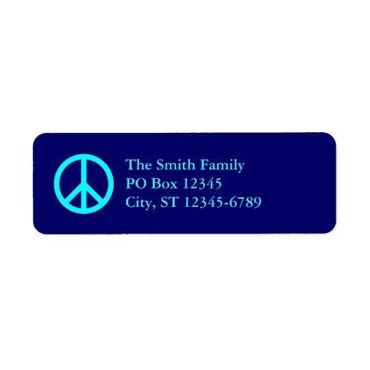 Étiquettes de adresse de symbole de paix d'Aqua