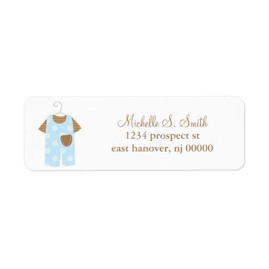 Étiquettes de adresse d'équipement de bébé bleu