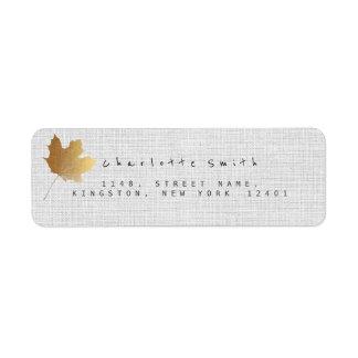 Étiquettes de adresse d'or de retour de toile de