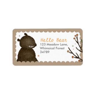 Étiquettes de adresse d'ours de région boisée