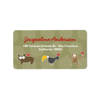 Étiquettes de adresse d'ours de toucan de singe de