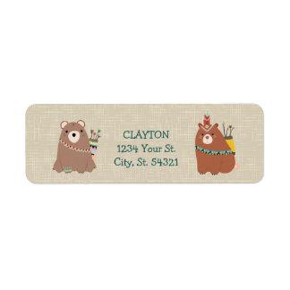 Étiquettes de adresse d'ours indigène