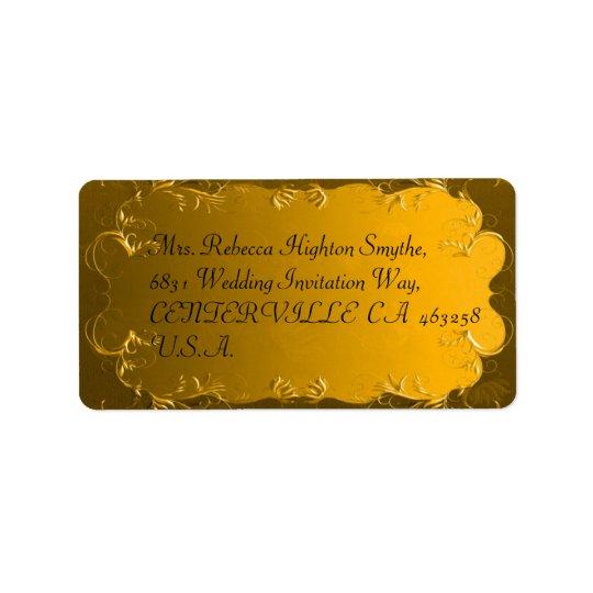 Étiquettes de adresse élégants de mariage d'or