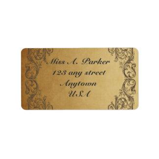 Étiquettes de adresse élégants fleuris baroques