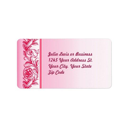 étiquettes de adresse élégants roses de coutume