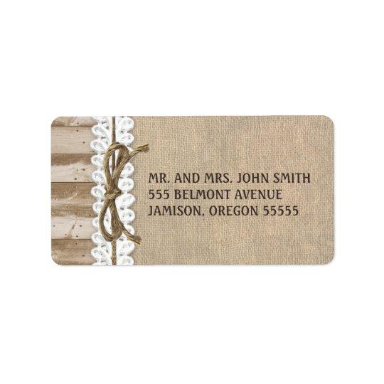 Étiquettes de adresse en bois de ficelle de grange