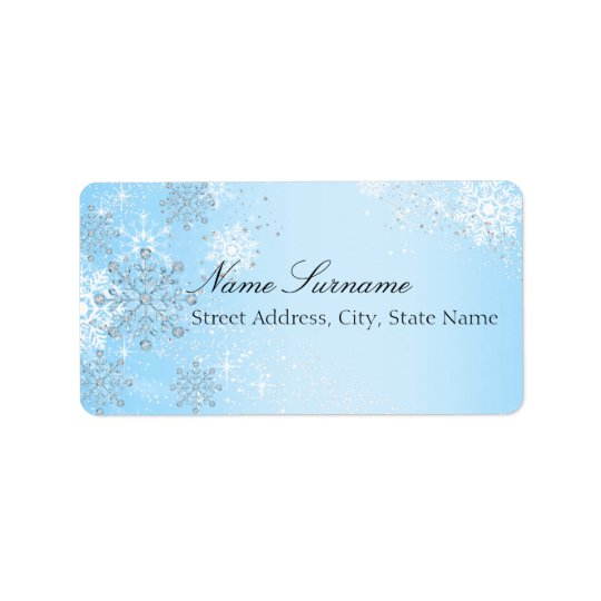 Étiquettes de adresse en cristal bleus de Noël de