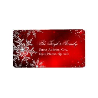 Étiquettes de adresse en cristal rouges de Noël de