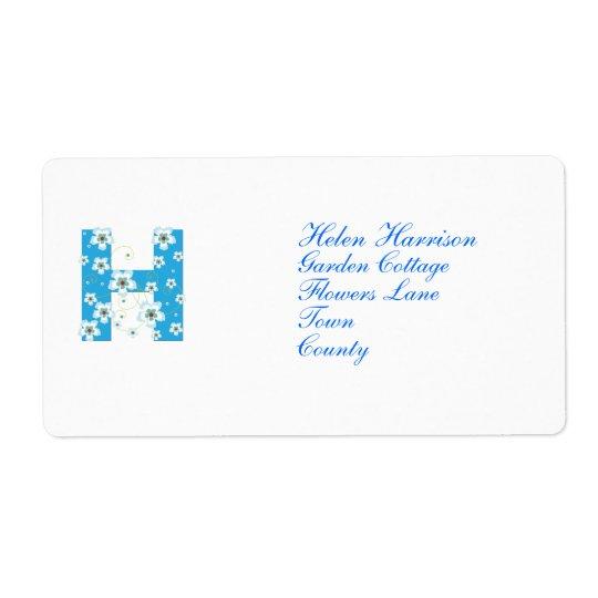 Étiquettes de adresse floraux bleus initiaux du mo