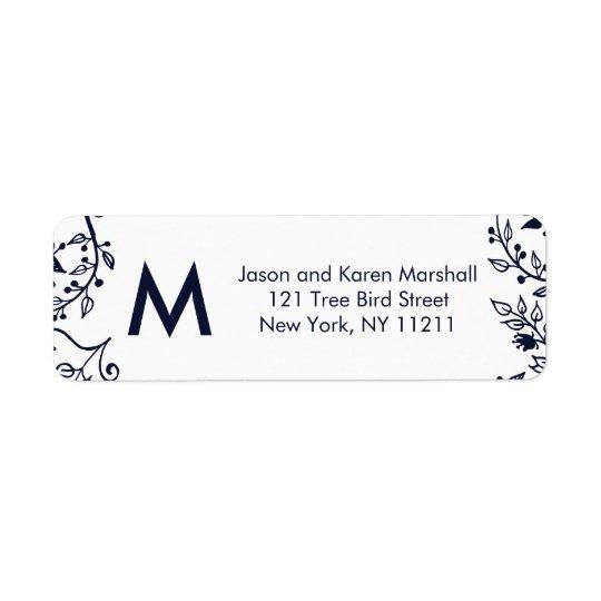 Étiquettes de adresse floraux de bleu marine et