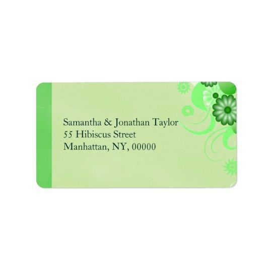 Étiquettes de adresse floraux de ketmie verte en